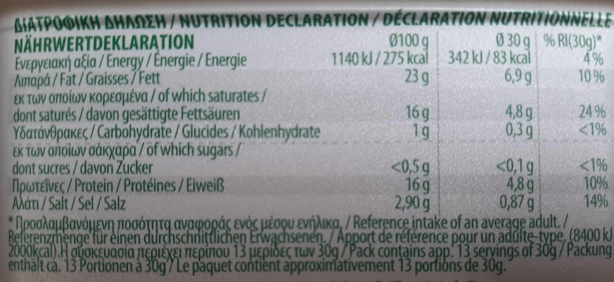 Organic FETA - Voedingswaarden - fr