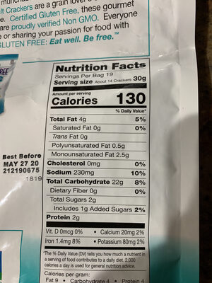 Crispy sea salt crackers gluten free - Nutrition facts