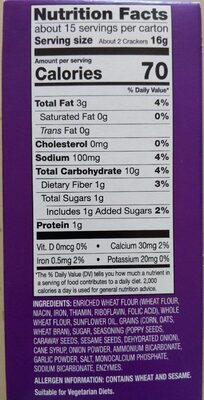Milton's Baked Crackers - Informations nutritionnelles