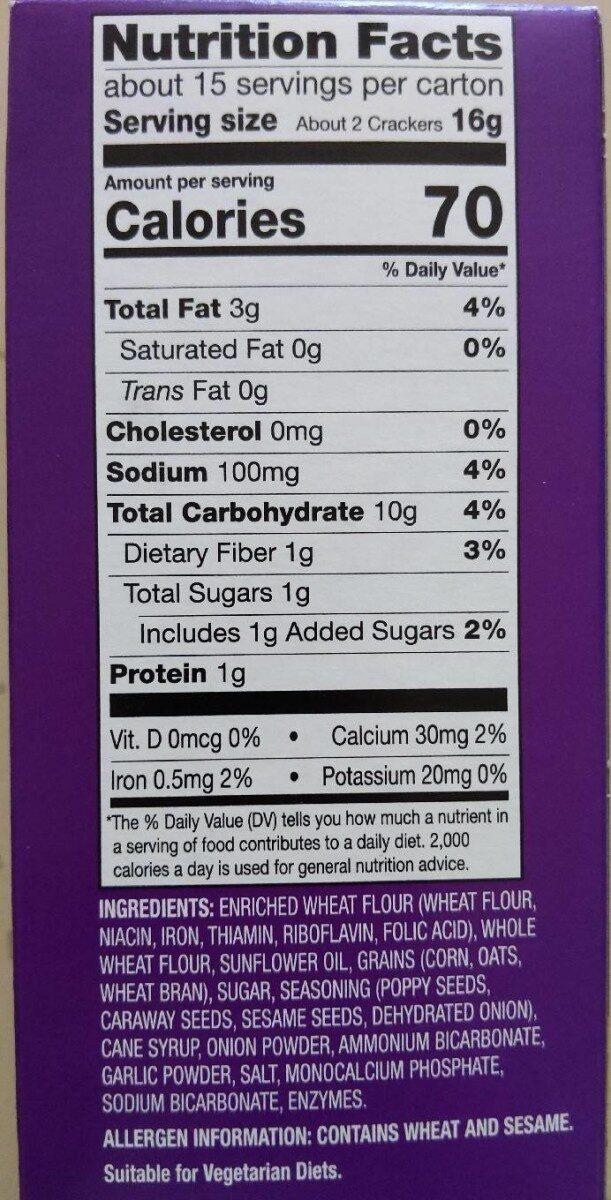 Milton's Baked Crackers - Informations nutritionnelles - en