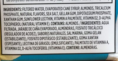 Almond Beverage - Ingredients