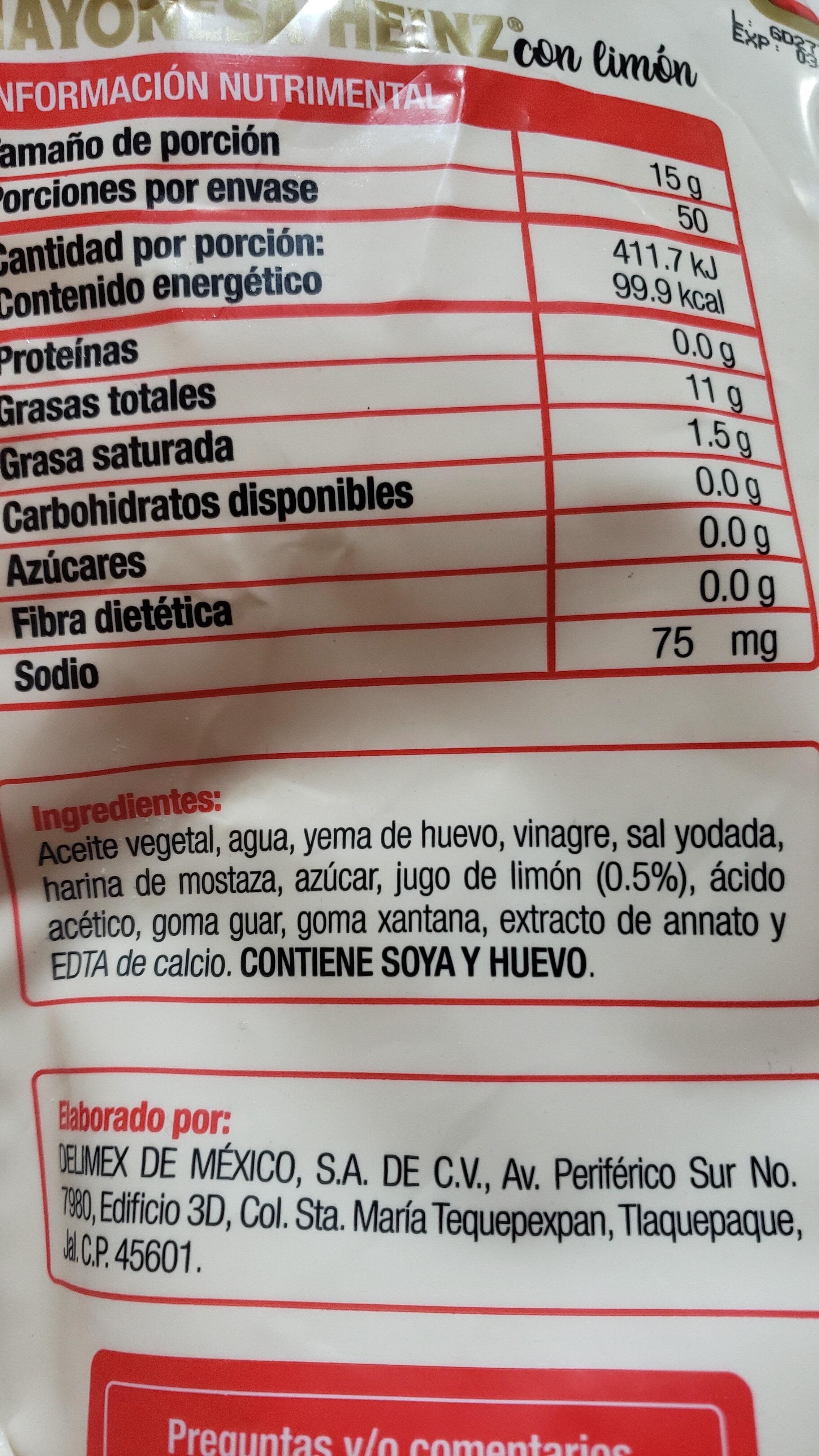 mayonesa con limón Heinz - Ingredientes - es