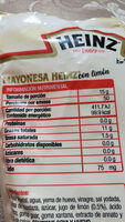 mayonesa con limón Heinz - Información nutricional - es