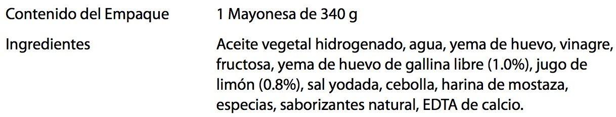 Mayonesa Heinz - Ingredients - es