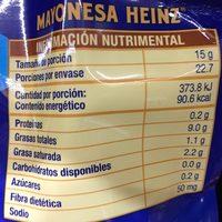 Mayonesa Heinz - Nutrition facts - es