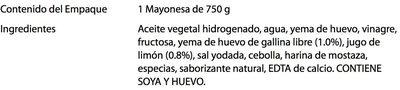 Mayonesa Heinz - Ingrédients