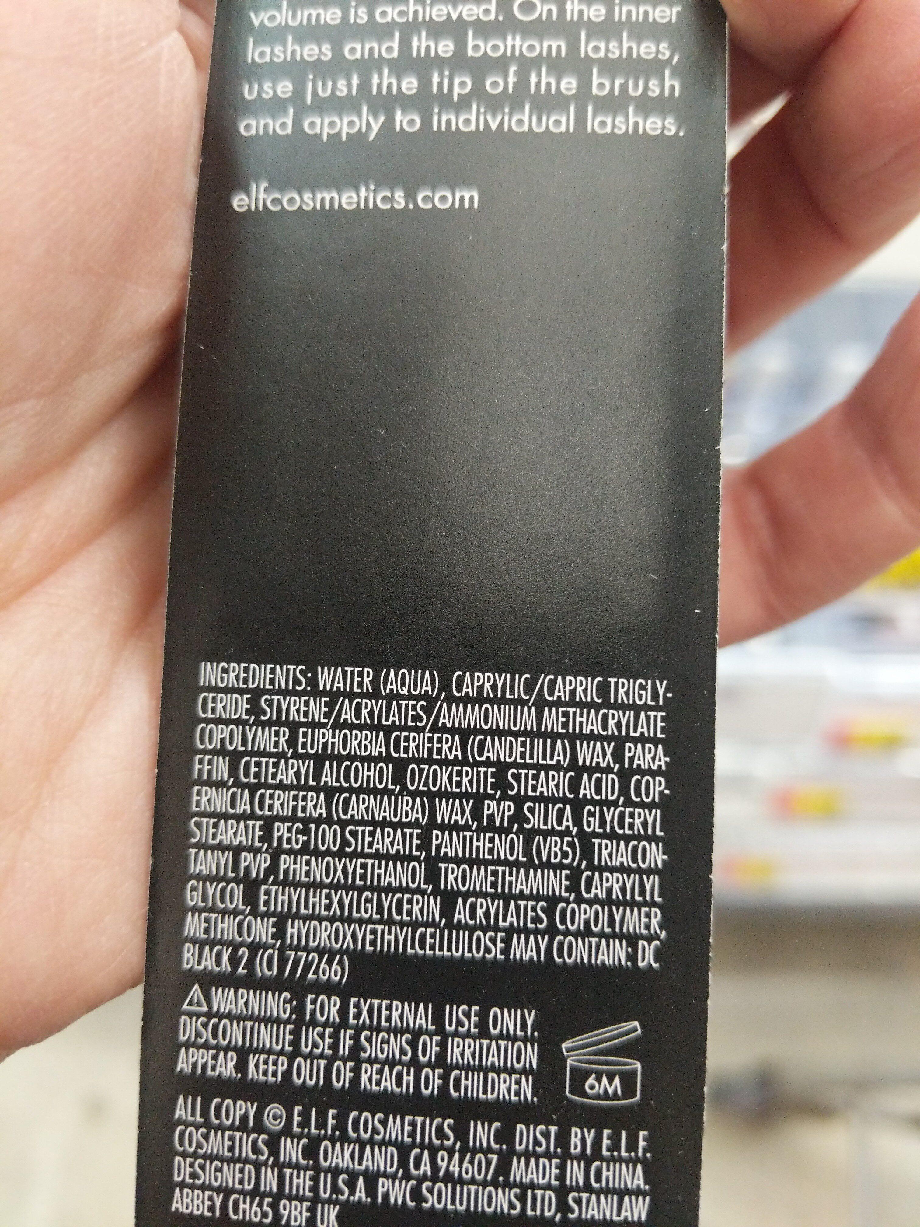 elf mascara - Ingredients - en