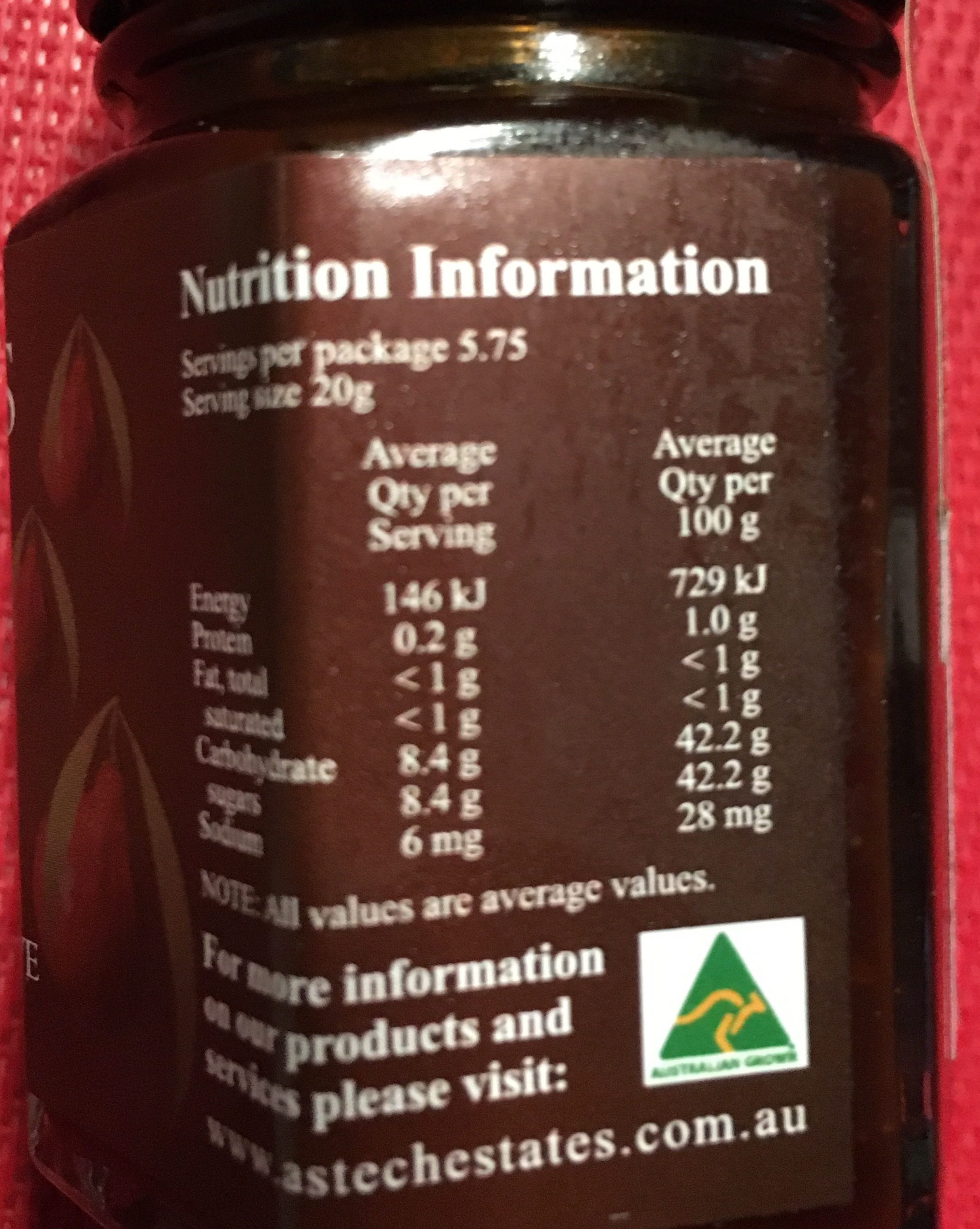 Jam YP LANDS - Quandong Preserve - Informations nutritionnelles