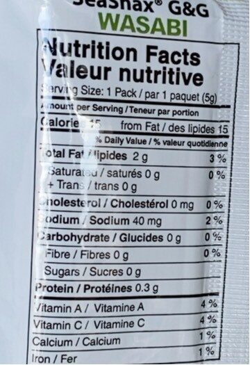 Grab and go seaweed - Nutrition facts - en