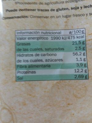 Corteza de lentejas Bio Organic - Nutrition facts