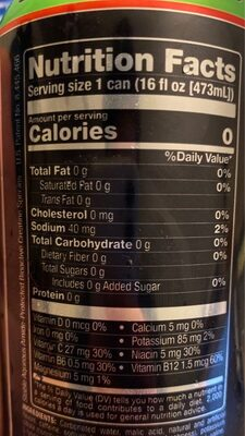 Sour heads energy drink - Nutrition facts - en