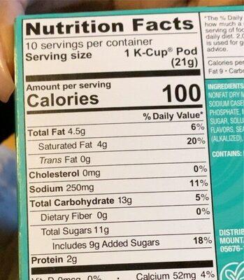 Vanilla latte - Valori nutrizionali - en