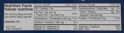 Sardines Écossaises Brisling, dans huile d'olive - Informations nutritionnelles