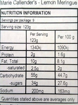 MARIE CALLENDERS Lemon Meringue Pie, 39 OZ - Nutrition facts - en