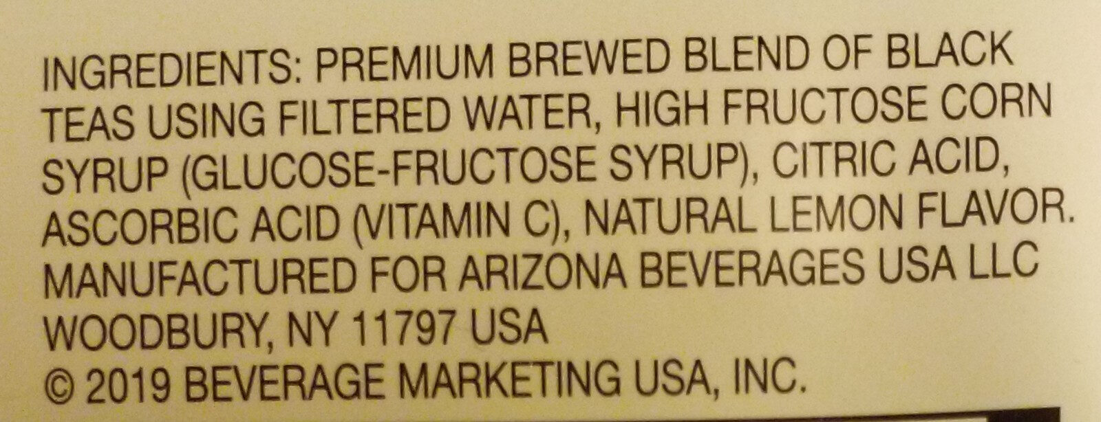 Iced Tea, Lemon - Ingredients
