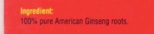 American Eagle Ginseng Tea (TM) - Ingrediënten