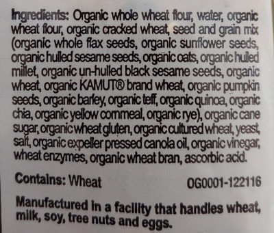 Bread, Organic, Super Grains (Multigrain) - Ingredients