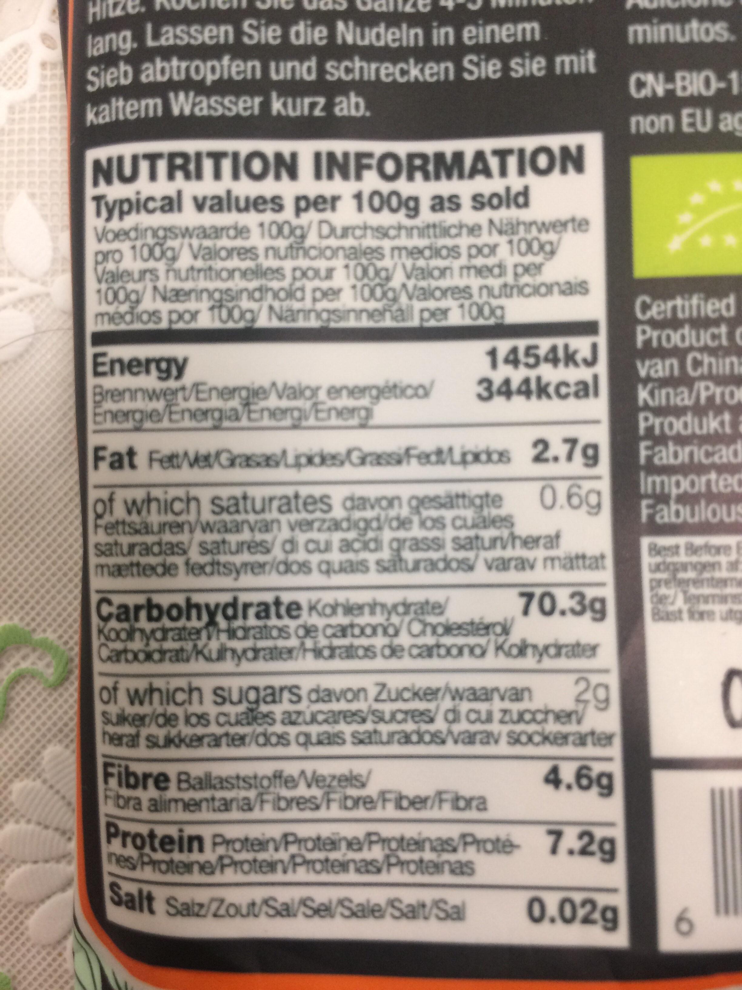 Pumpkin, Ginger & Rice Noodles - Informació nutricional - pt