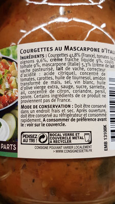 courgettes au mascarpone d'Italie - Ingrediënten