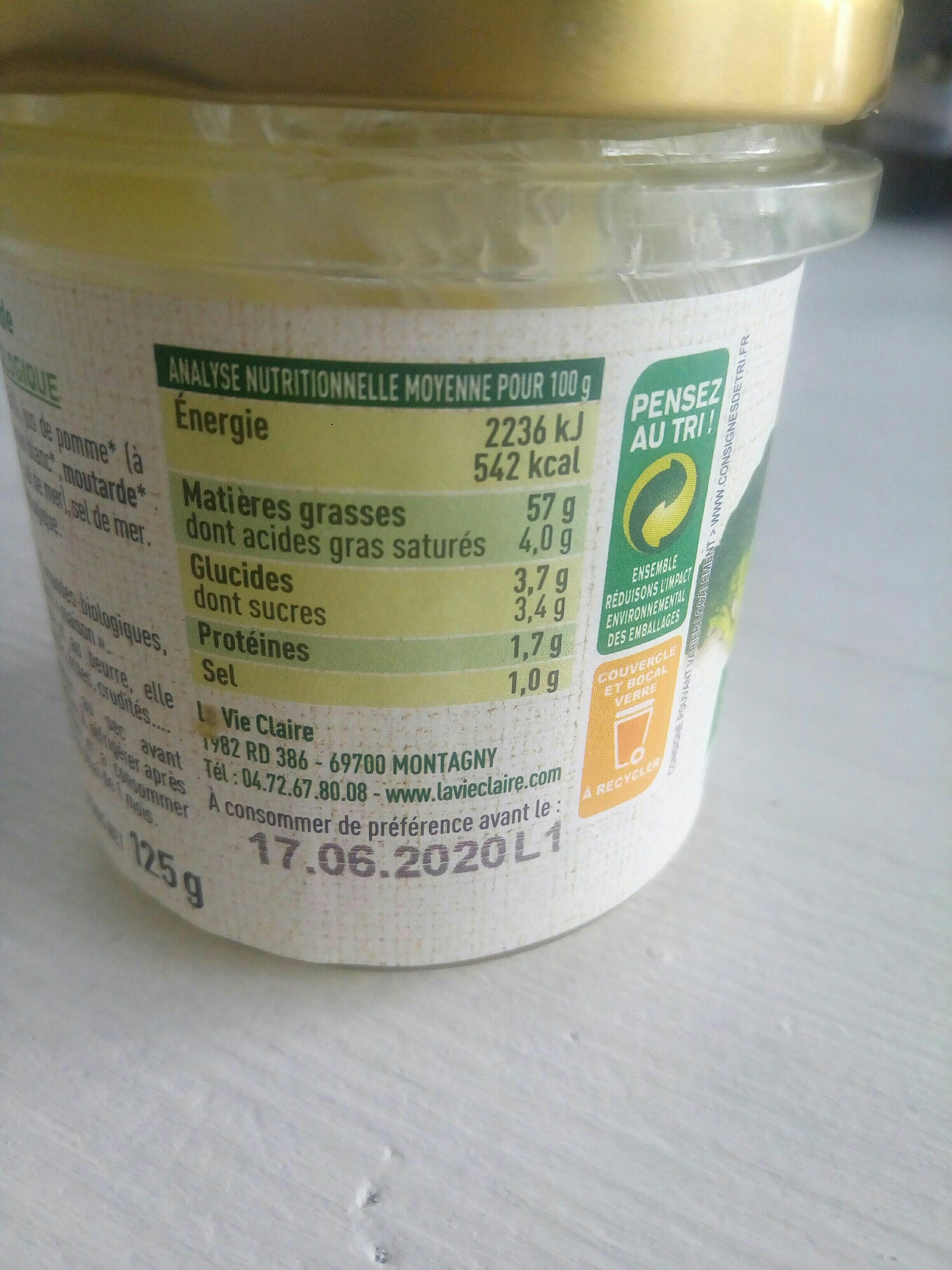 vegan mayo - Nutrition facts