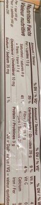 Barre de chocolat - Nutrition facts - en