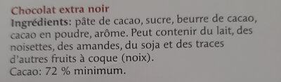 noir spécial 72% - Ingredienti - fr