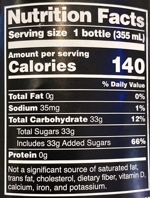 Cane sugar soda - Informations nutritionnelles