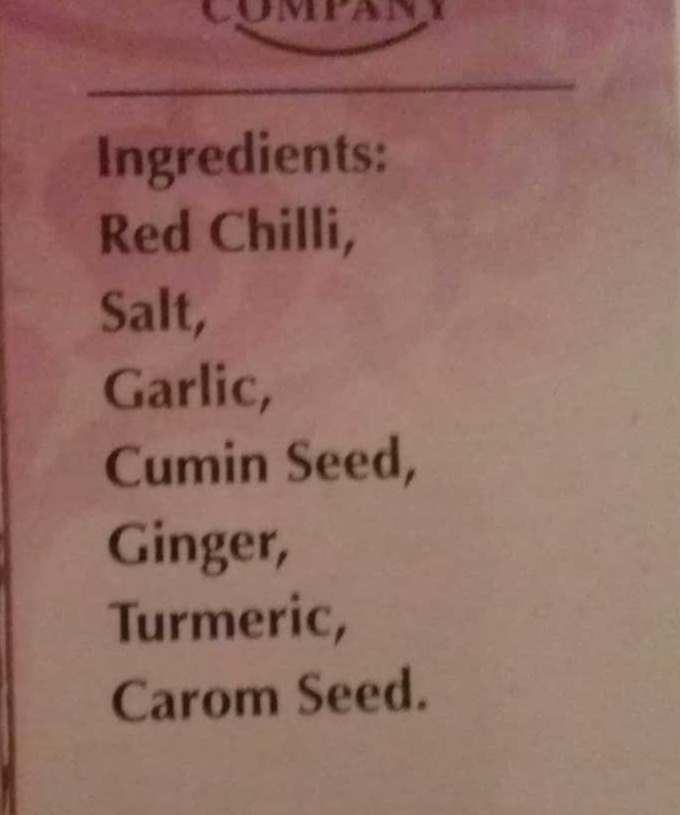 Spice mix for fish masala - Ingredients