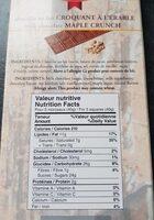 Milk Chocolate Maple Crunch - Informations nutritionnelles - en