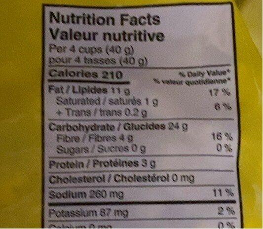 Popcorn - 营养成分 - fr