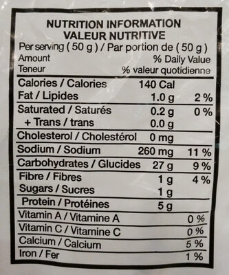 Portuguese Dinner Rolls - Nutrition facts