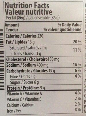 Salade de poulet - Nutrition facts - fr