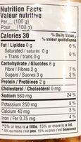 Kimchi - Nutrition facts - fr