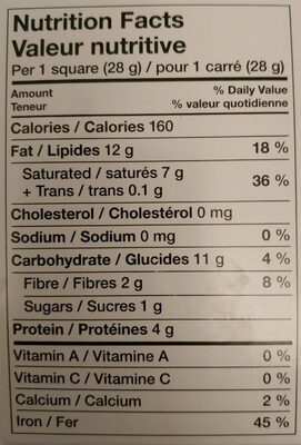 Unsweetened Baking Chocolate - Nutrition facts - en