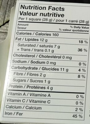 Unsweetened Baking Chocolate - Informations nutritionnelles - fr