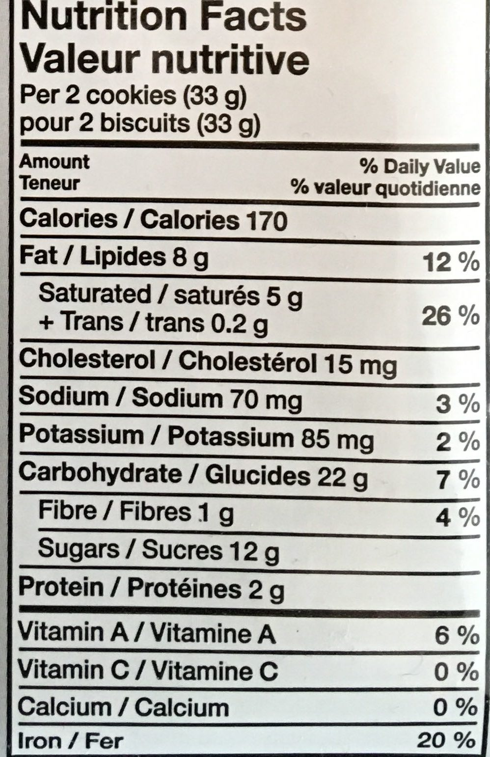 Chunky Chocolate Chip - Informations nutritionnelles - fr