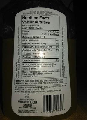 Limonade avec mangue - Ingrédients - fr