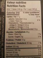 Coucous au poulet - Nutrition facts - fr