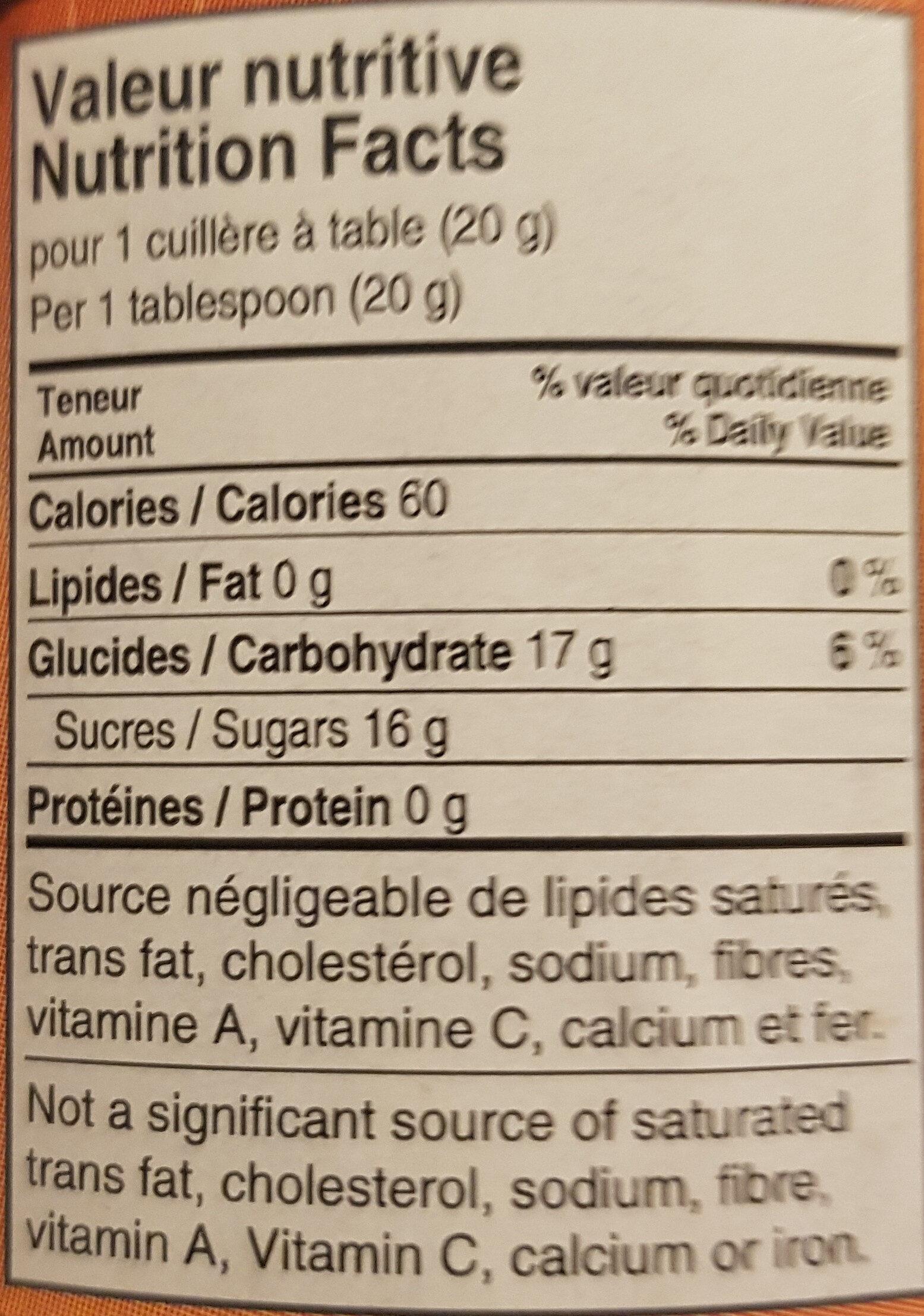 Miel d'Été - Nutrition facts