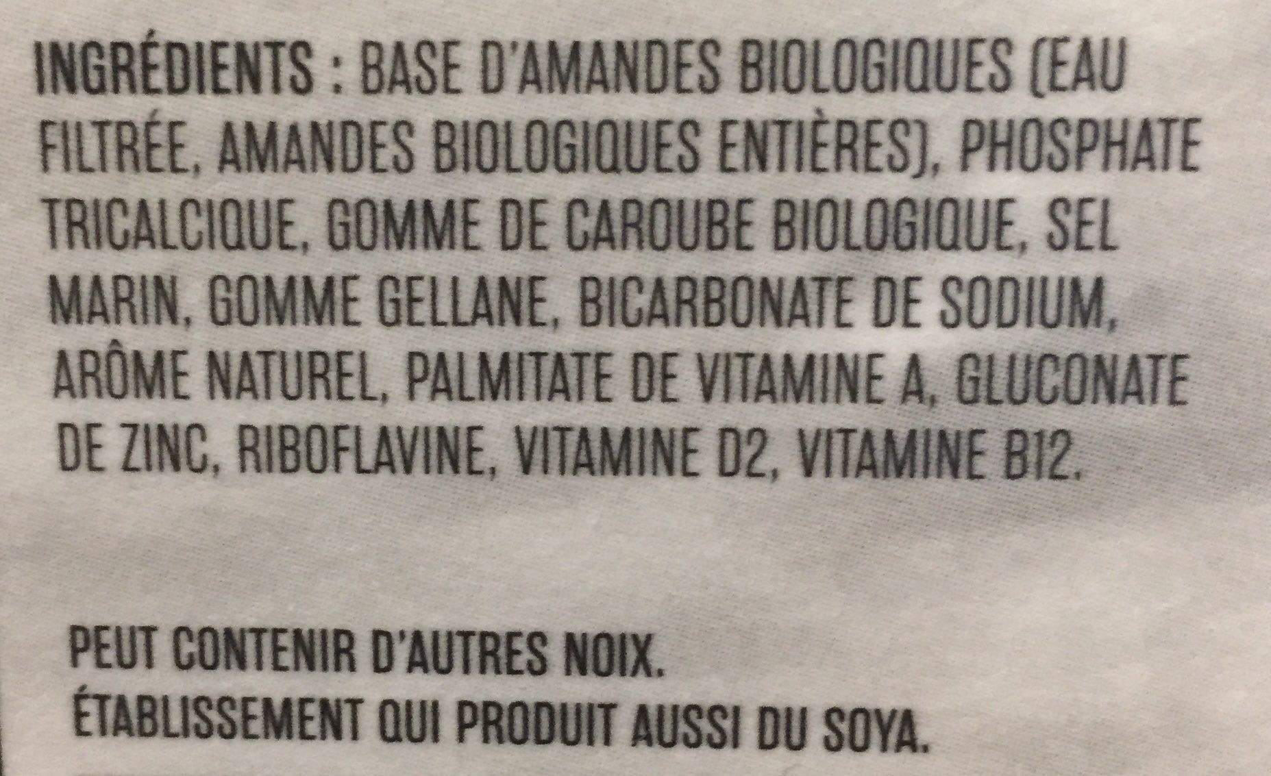So Nice Almond Unsweet Org Fresh - Ingrédients - fr