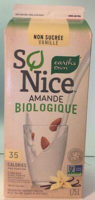 So nice organic almond vanilla - Product