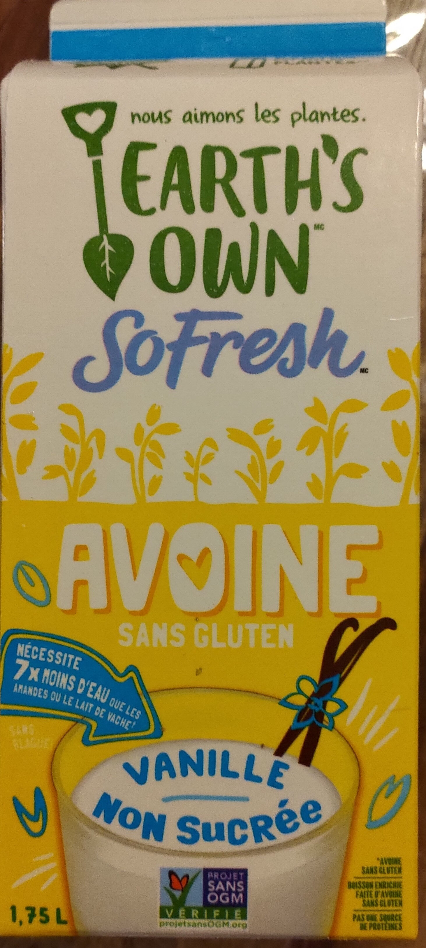 So Fresh AVOINE Vanille non sucrée Sans gluten - Produit - fr