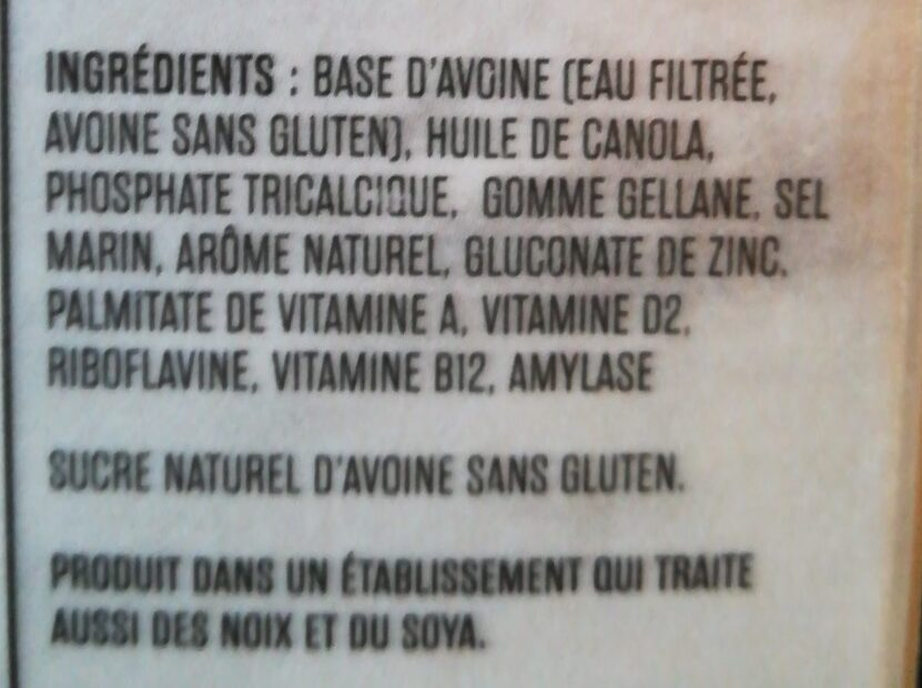 So Fresh AVOINE Vanille non sucrée Sans gluten - Ingrédients - fr