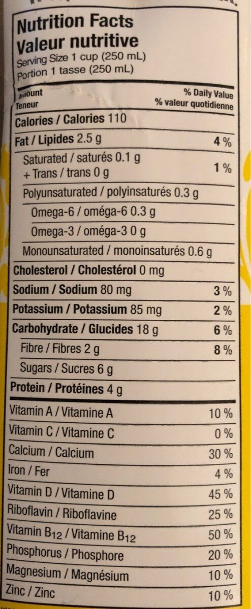 Lait d'avoine - Informations nutritionnelles - fr