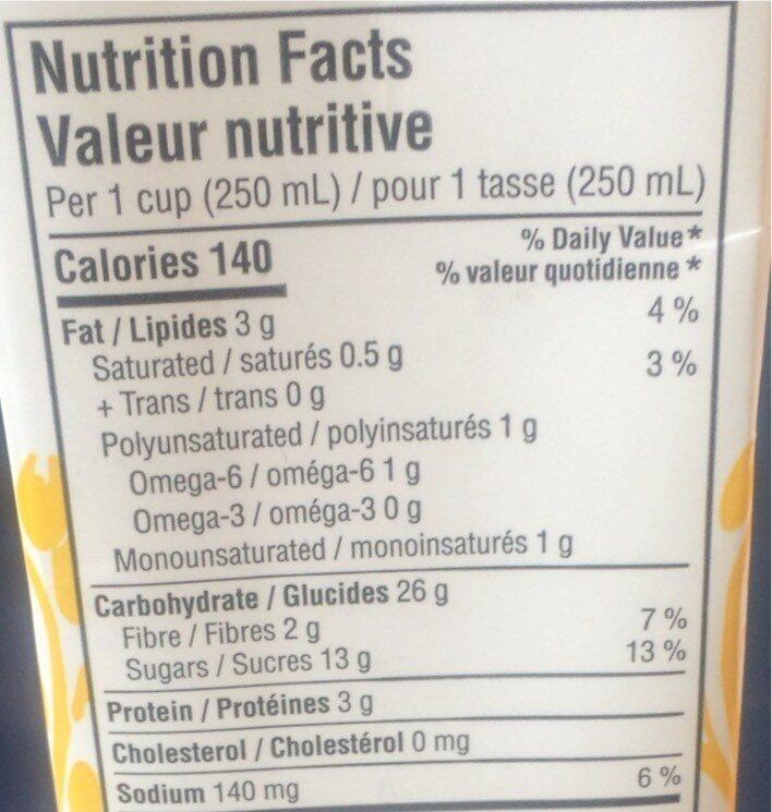 Lait avoine chocolat - Informations nutritionnelles - fr