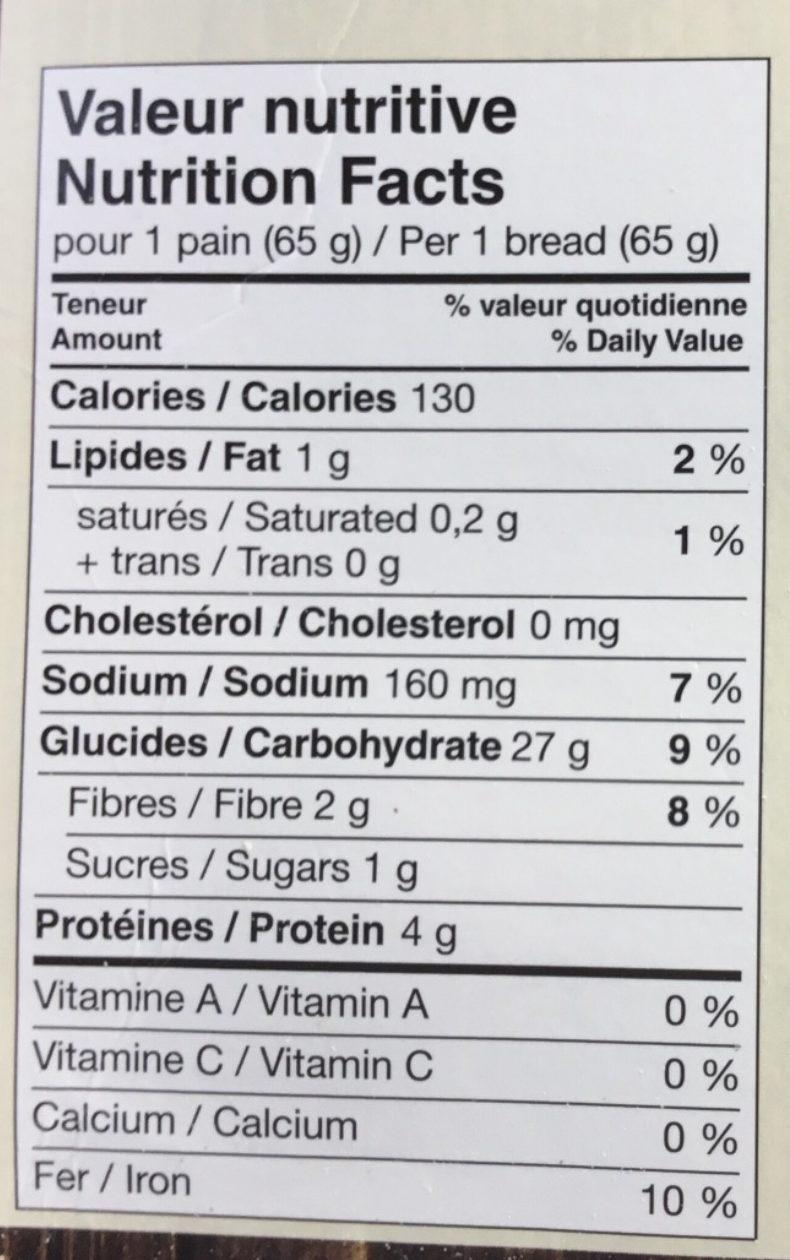 Pain carré - Nutrition facts - fr