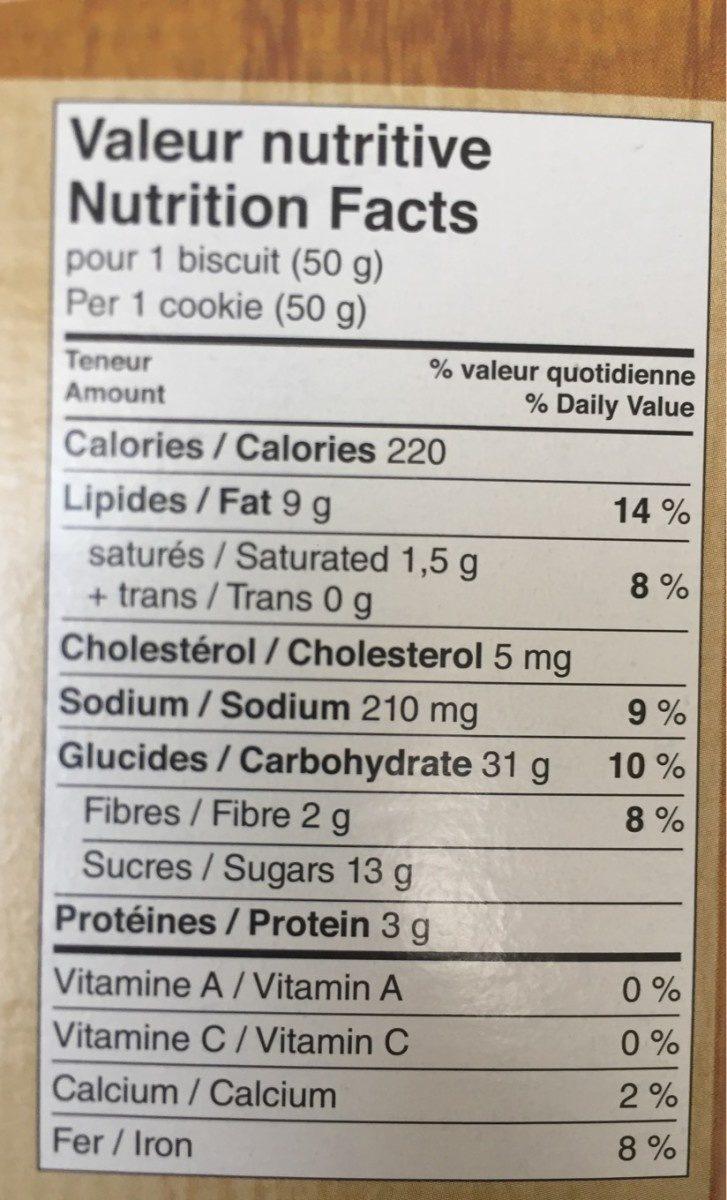 Biscuits (érable & Noix) - Voedigswaarden