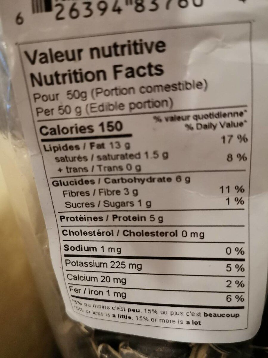 Sunflower seeds - Nutrition facts - fr
