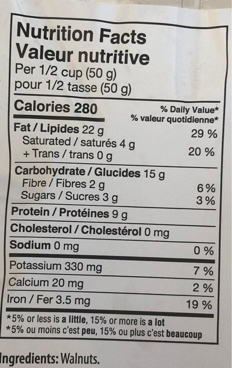 Noix de grenoble - Informations nutritionnelles - fr