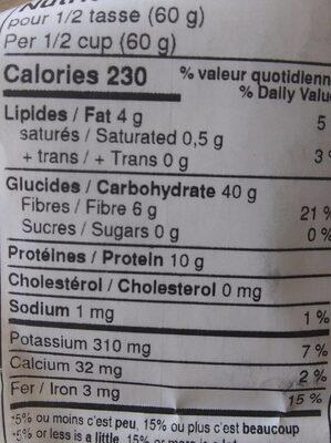 Farine davoine entiere biologique - Nutrition facts - fr